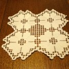 Hardanger embroidery doily table mat white excellent vintage hc2882