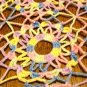 Varigated crochet table runner granny wheels pink blue yellow vintage hc2912