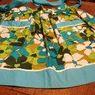 VHY Hawaiian Textiles apron flower power turquoise hostess pockets unused hc2914