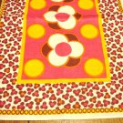 Retro linen place mat hot colors mod design unused vintage flower power hc2925