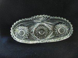 American Brilliant cut glass condiment dish made for Birks Canada antique hc2954