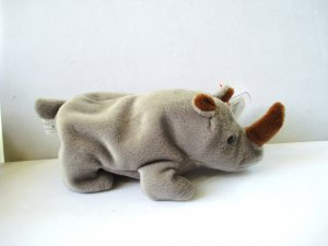 Spike the baby rhinoceros 1996 Ty Beanie Baby toy retired mint hc2987