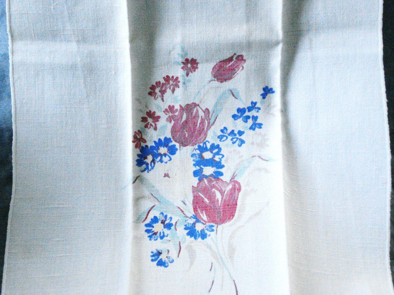 Floral printed linen hand guest towel tulips corn flowers vintage hc2996