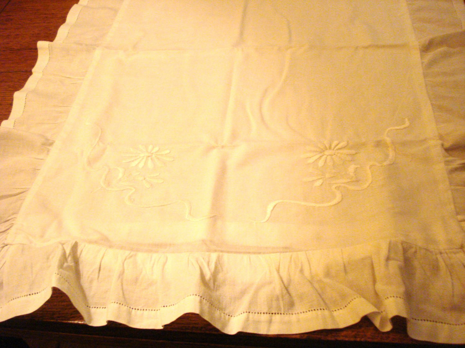 Antique linen pillow sham whitework daisy embroidery button opening Victorian hc3002