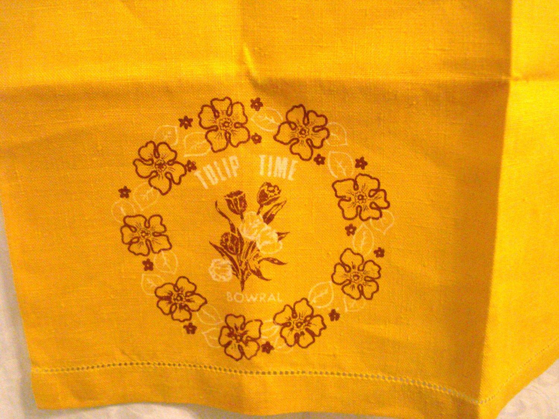 Tulip Time in Bowral embroidery stamped linen towel orange threadwork hem unused vintage hc3006