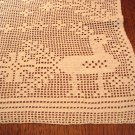 Christmas hand crocheted table mat filet stitch reindeer flowers white vintage hc3007