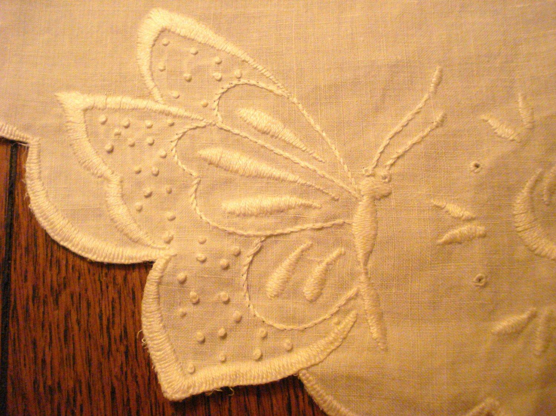 Victorian butterflies on oval table dresser mat white linen fine whitework embroidery hc3012
