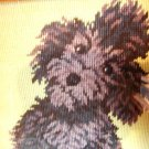 Framed needlepoint picture of black poodle too lovable AL1033