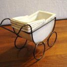 Porcelain baby buggy pram small planter with wire wheeled frame unused vintage hc3223