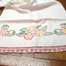 Hand embroidered linen table runner dresser scarf crocheted lace ends vintage hc3229