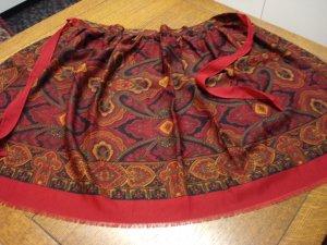 Challis paisley hostess apron autumn colors upcycled vintage hc3230