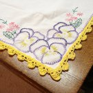 Embroidered pansies barkcloth tablecloth crocheted edge blanket stitch vintage 32 inches hc3244