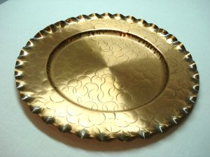 Fantasy Copperware large tray hammered copper fluted rim hanging loop mid century hc3253