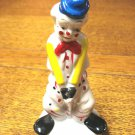 Flambro cold painted clown figurine blue hat and cane porcelain vintage hc3277