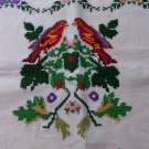 Cross-stitch embroidered dresser scarf table runner linen threadwork hem vintage hc3304
