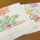 2 Crewel embroidered towels or wall hangings linen hc3318