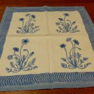 Coulour Nature 2 large cotton napkins blue poppies on cream vintage hc3321