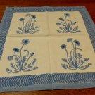 Coulour Nature 2 large cotton napkins blue poppies on cream vintage hc3321