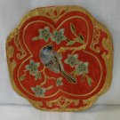 Society silk hand embroidered bird table mat small teal gold red vintage hc3326