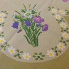 "Barkcloth tablecloth 1960s flower power 34"" olive purple vintage hc3302"