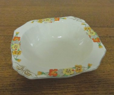 Alfred Meakin small serving bowl nasturtins pansies 1930s vintage hc3362