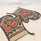 2 Native Canadian designed oven mitts black red tan liners unused unisex hc3367