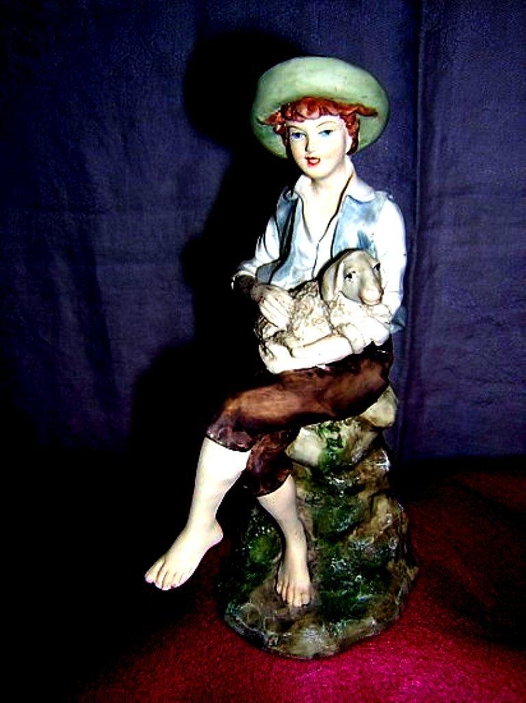 Leonardo signed bisque china figurine shepherd boy lamb hc1290