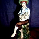 Leonardo signed bisque china figurine shepherd boy lamb hc1290