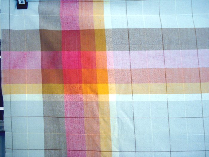 Eames era windowpane check tablecloth Fiesta colors vintage linens hc1037