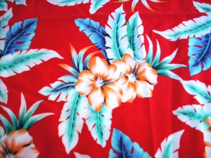 Bright tropical print rayon fabric 2 yards plus Hawaiian style hc1379