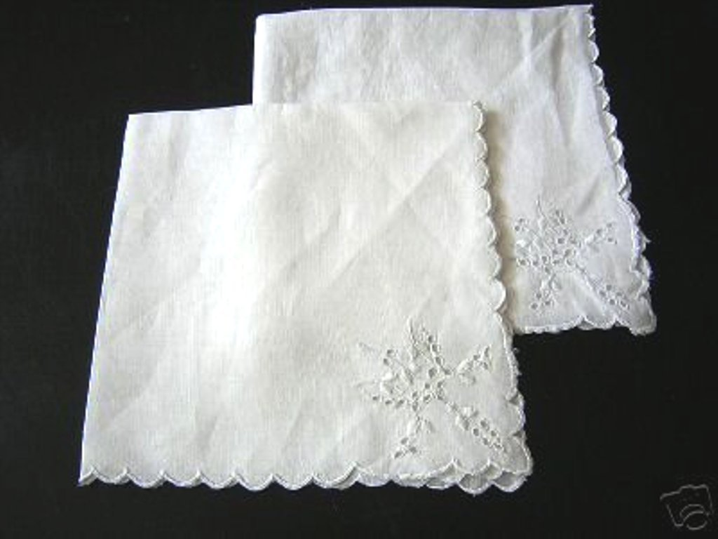2 Whitework linen napkins scalloped edges Victorian antique hc1427