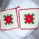 2 Hand crocheted potholders Irish style with red rose centers vintage hc1467