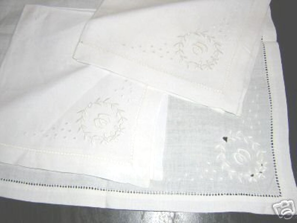 3 Antique linen luncheon napkins Madeira embroidery monogrammed W hc1774