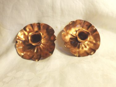 Gregorian Copper flower candle holders mid century vintage for tapers signed number 7  hc3392