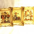 Berta Hummel 3 framed art prints boy, girl, 3 children, mid century W. Germany hc3394