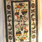 Colonial print cotton tea towel fruit, flowers, birds hearts, couple vintage hc3397