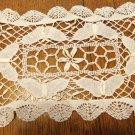 Bobbin lace doily or mat white rectangular vintage perfect handmade hc3401