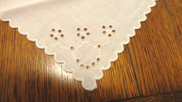 3 Antique white linen luncheon napkins whitework embroidery  hc3405