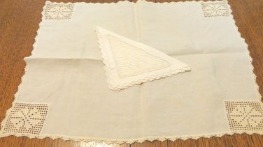 Antique place tray mat napkin off white linen filet lace trim invalid, singles, office lunch  hc3406