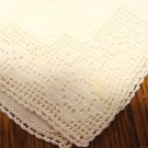 Antique napkins set of 3 off white linen filet lace trim hand crocheted lace hem hc3407