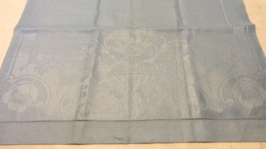Linen damask tea or hand towel threadwork hem elegant blue 36 inches long huck weave ground hc3417