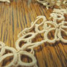 Tatted lace trim light taupe hand made 92 inches long 1 inch wide hc3420