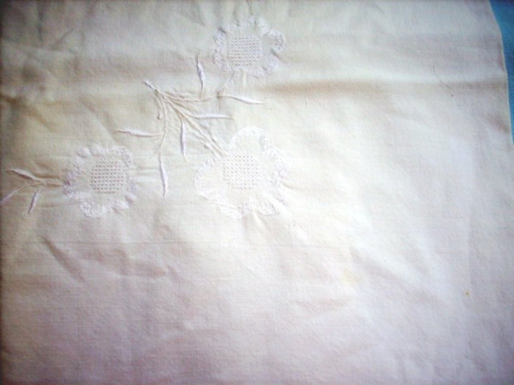 Embroidered threadwork Euro pillow case or sham cotton vintage linens hc1576