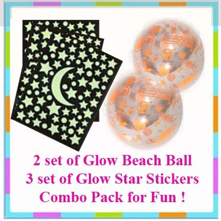 Beach Ball + Glow in the Dark Sticker Combo Pack + Free Gift