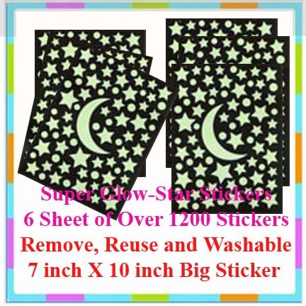 6 Super Glow Sticker Sheet (7 X 10 inch) + Free Gift