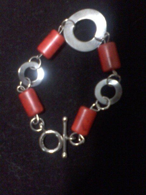 Red Jasper Wave Hardware Bracelet