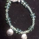 """Hope and Faith"" Green Beaded Wire Bracelet"