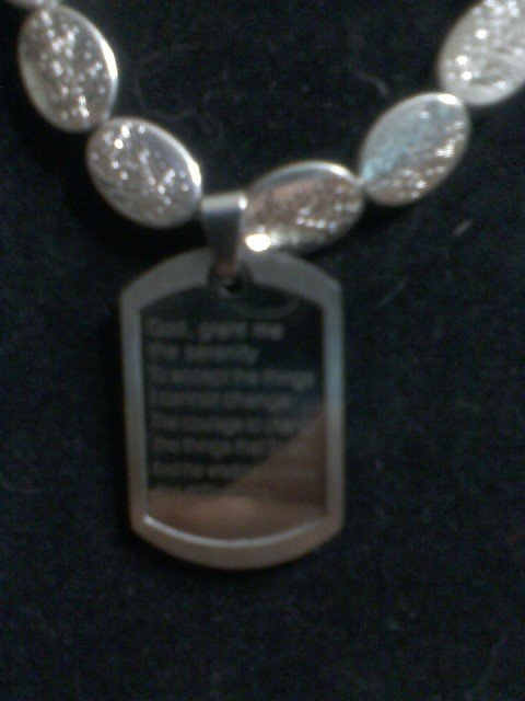 """Serenity"" Beaded Necklace with Serenity Prayer"