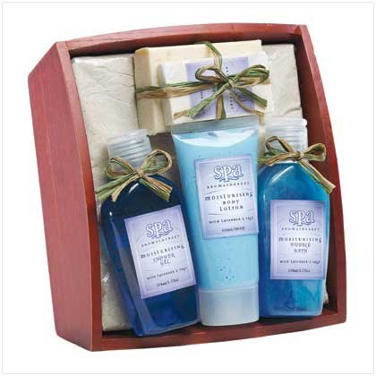 Lavender and Sage Bath Set on Tray
