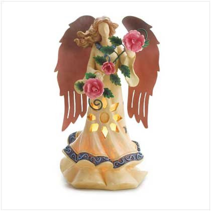 Ethereal Lighted Angel Bearing Roses